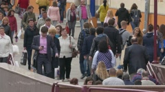Ungraded: Crowd of People Go Down Into Subway Stock Footage