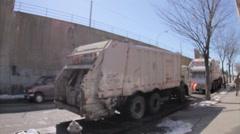 Garbage truck, African-American, black people crossing street Queens NYC Stock Footage