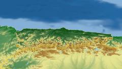 Principado De Asturias - Spain autonomous community extruded. Bumps shaded. Stock Footage