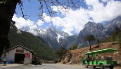 Beautiful road view around Jade Dragon Snow Mountain in Lijiang Stock Footage