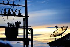 Radar in blue sky sunset Stock Photos