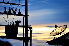 Radar in blue sky sunset - stock photo