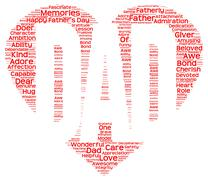 Tag cloud of father's day in the shape of red heart - stock illustration
