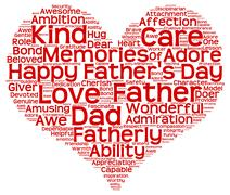 Tag cloud of father's day in the shape of red heart Stock Illustration
