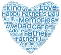 Tag cloud of father's day in the shape of blue heart - stock illustration