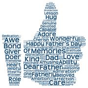 Tag cloud of father's day in the shape of facebook like - stock illustration