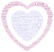 Tag cloud of father's day in double heart shape - stock illustration