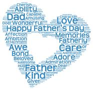 Tag cloud of father's day in heart shape Stock Illustration