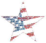 Tag cloud of 4th of july in the shape of falg inside the star Stock Illustration