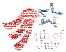 "Tag cloud of 4th of july in the shape of ""4th of July"" Stock Illustration"