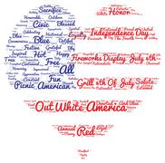 Tag cloud of 4th of july in the shape of flag in the heart - stock illustration