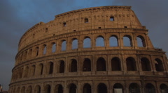 Colosseum Ruins Nightfall Evening Twilight Sightseeing Landmark Rome Museum Stock Footage