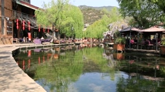 Beautiful view of Shuhe old town in Lijiang Stock Footage
