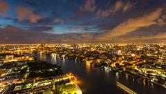 Modern building in city with Chaophaya river at Bangkok, Thailand - stock footage