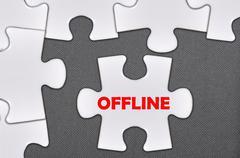 jigsaw puzzle written word offline - stock photo