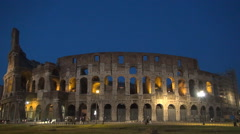 Rome Archaeology Antique Historical Arena Giant Construction Night Tourism Stock Footage