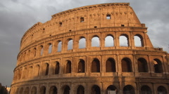 Rome Historical Monument Sundown Impressive Colosseum Building Red Light  Stock Footage