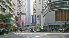 Street scene in Wanchai of Hong Kong Stock Footage