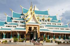 Thailand style architecture of buddhist church Stock Photos
