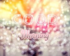 Good Morning word on winter tree bokeh background - stock photo