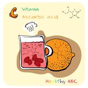 Healthy ABC: Vitamin C - stock illustration