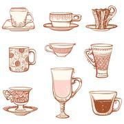 Cups icon set. Stock Illustration