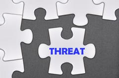 jigsaw puzzle written word threat - stock photo