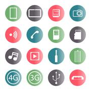 A set of mobile icons, vector illustration. - stock illustration