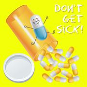 Capsule with face expression and pill bottle spilling capsules Stock Illustration