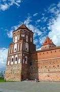 Belarus, Grodno region. Tower of Mir Castle - stock photo