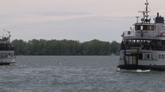 Toronto island passenger ferry on a sunny beautiful summer day Stock Footage