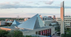 Timelapse of City Hall, the Art Gallery and Churchill Square in Edmonton Stock Footage