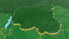 Chernihiv - Ukraine region extruded. Bumps shaded Stock Footage