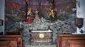 Crucifixion sculptures in mountain church Hallstatt HD Footage