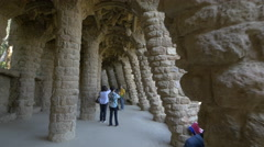 Arcades of stone columns in Park Guell, Barcelona Stock Footage
