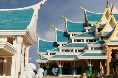 beautiful architecture of buddhist church - stock photo