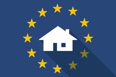 European Union  long shadow flag with a house Stock Illustration