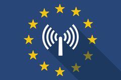 European Union long shadow flag with an antenna Stock Illustration