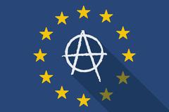 European Union with an anarchy sign Stock Illustration