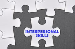 Jigsaw puzzle written word interpersonal skills Stock Photos