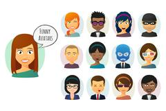 Male and female  cartoon avatar set Piirros