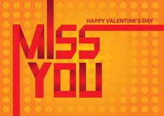 Valentine day message Miss You Origami Vector Illustration - stock illustration