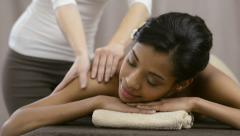 Therapist doing massage - stock footage