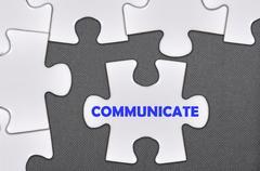 jigsaw puzzle written word communicate - stock illustration