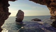 Beautiful Sea Coast Aerial Rocks Cliffs Sunset Beach Waves Crushing Sun Shining Stock Footage