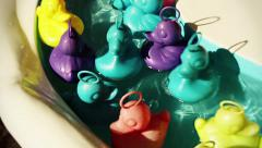 Rubber Ducks in bathtub Multicolored - 1080p Stock Footage