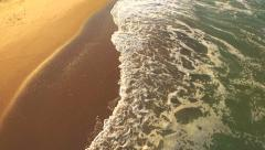 Ocean Waves Covering Sand Aerial Tropical Beach Location Vacation Holiday Stock Footage