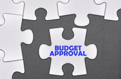 Jigsaw puzzle written word budget approval Stock Illustration