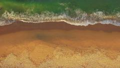 Aerial: Beautiful Beach Landscape Waves Moving Beach Sand Tropical Location Stock Footage
