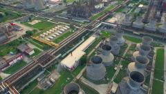 Aerial Of Oil Factory Petrol Commerce Environment Pollution Chemicals Ecology - stock footage